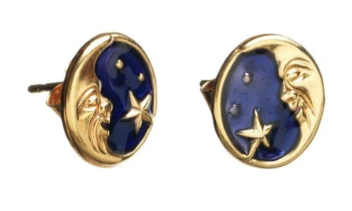 Gold Moon Earring with Blue Sky and Star
