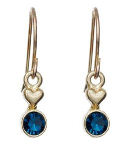 Gold Navy Crystal Drop Earring