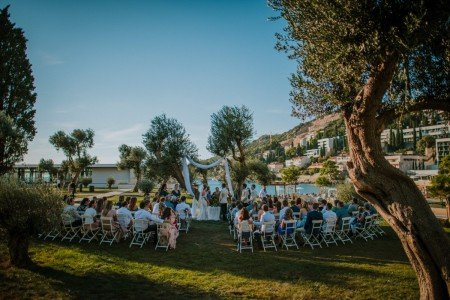 Olive grove Wedding by a beach