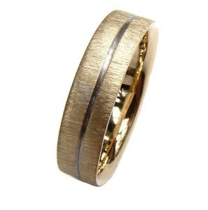 5mm Gold Wedding Ring With Polished Groove and Scratch Finish