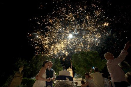 Cutting the Cake with Fireworks