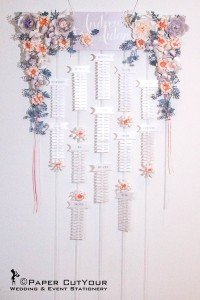 Paper CutYour laser cut Table Plan, Suspended paper flower garland table plan, Wedding Table Plan, paper cut flowers