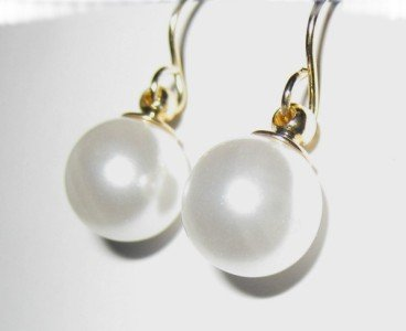 Pearl Fish Hook Earring in Gold 10mm