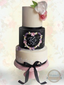 Personalised chalkboard wedding cake with bride and groom's initials