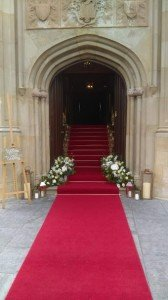 A beautiful red carpet entrance at Lough Eske!