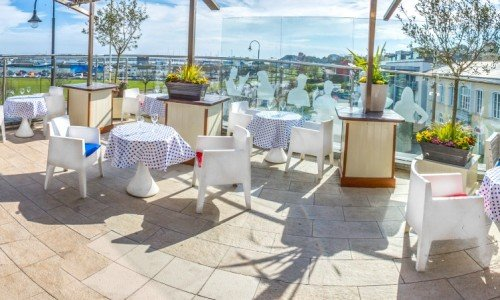 Our outdoor heated terrace. You and your guests can enjoy the breathtaking views overlooking Howth harbour and out to Ireland's Eye