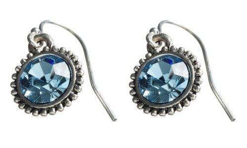 Silver Cubic Zirconia Earring with Blue Crystal