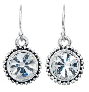 Silver Cubic Zirconia Earring with Clear Crystal