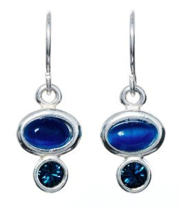 Silver Drop Earring with Oval Blue Stone