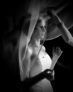 bride and veil shot,adare manor wedding, black and white