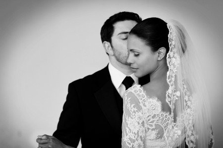 bride and groom quiet moment, lace veil, lace dress, black tie wedding, real wedding Carton house, bride and groom kiss