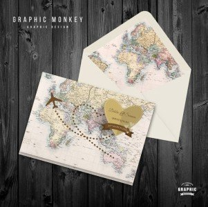 Travel Vintage Map Wedding Invitation