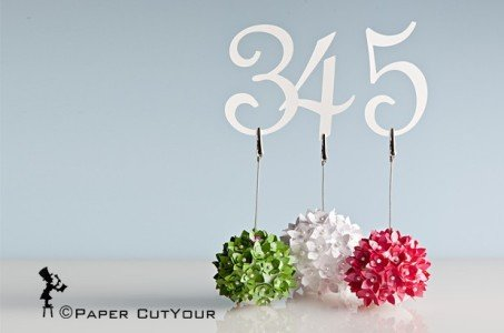 Paper CutYour LASER CUT WEDDING TABLE NUMBERS kissing ball pomanders
