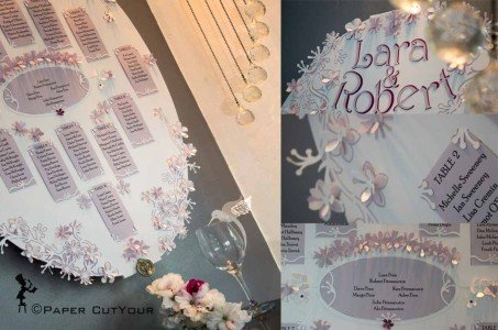 Paper CutYour Laser cut 3D Table Plan - Lazy Daisy, paper cut flowers